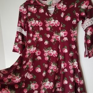 girls floral dress bell sleeves size 7